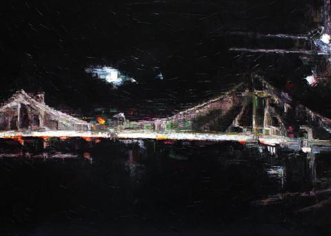 BRIDGE BY NIGHT-oil on canvas. 183cm. x 81cm.
