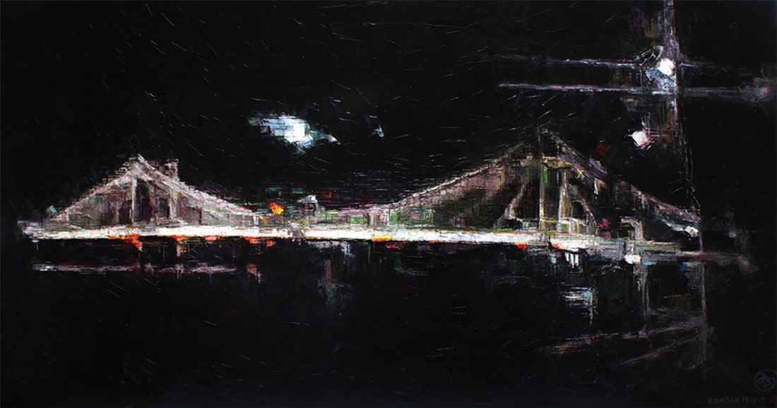BRIDGE BY NIGHT-oil on canvas. 183cm. x 81cm.